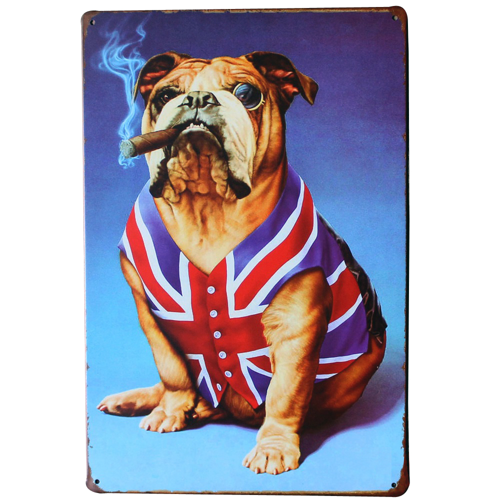 buy bulldog and smoking cigar metal puppy plaque rustic pet sign for dog art. Black Bedroom Furniture Sets. Home Design Ideas