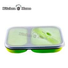 2 Zellen Silikon Klapp Mikrowelle Bento Lunch Box Mit Löffel und Gabel In Einem 21*15 cm Tragbaren Mittagessen Box BPA FREI
