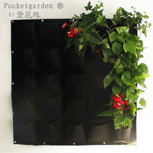 25 Pocket Flower Pots Garden Planter On Wall Hanging Vertical Felt Gardening Plant Green Field Grow