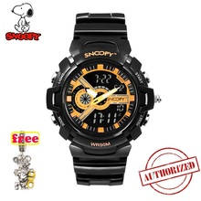 SNOOPY Brand Men Sports Watches Dual Display Analog Digital LED Electronic Quartz Wristwatches Waterproof  Military Watch SNW776 naviforce men leather band wristwatches multifunction led waterproof dual display quartz analog date digital wrist watch 9128