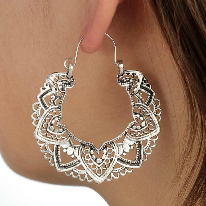 Gold silver color bohemian ethnic carved hollow earrings Classic pattern totem vintage earrings Women's jewelry