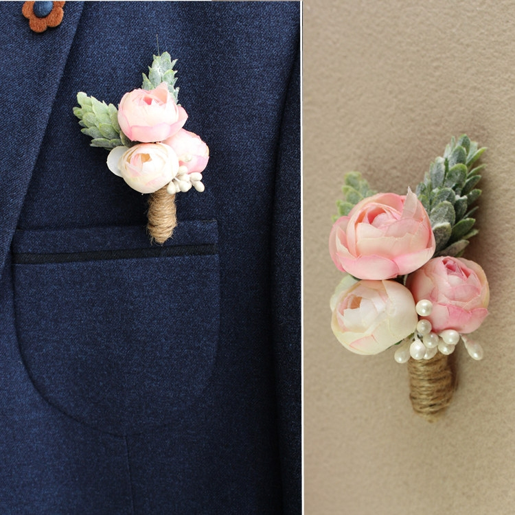 Jonnafe Pink Fl Corsages Wedding Accessories Bridesmaid Groom Brooch Handmade Men Boutonniere In Brooches From Jewelry On Aliexpress