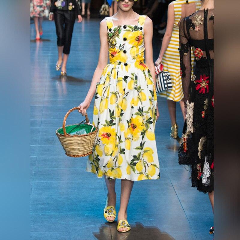 Temperate 2019 Summer Women Yellow Lemon Print Cotton Dresses Sexy Beach Holiday Buttons Spaghetti Strap Slash Neck Midi Dress Jc3167 Women's Clothing