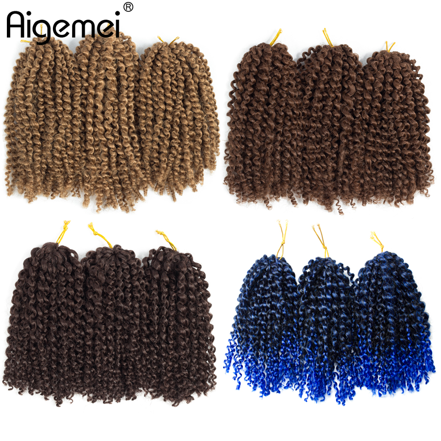 Aigemei 8 inch Ombre Marlybob Crochet Braids 3pcs/pack Kinky Twist Hair 90g/pack Synthetic Extensions