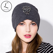 75c0640b089e6 GZhilovingL New 2019 Soft Cotton Skull Beads Women Beanies Hats Casual Solid  Color Oversize Slouch hats. 4 Colors Available