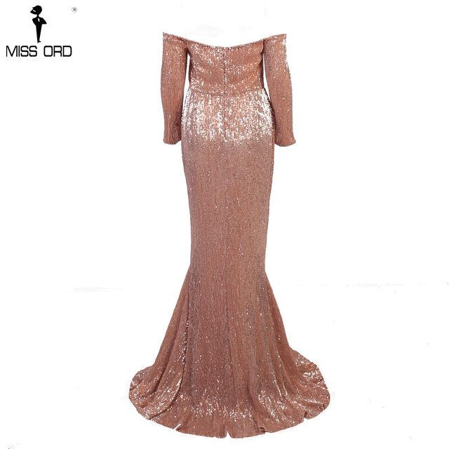 Missord 2019 Sexy  BRA Long Sleeve Off Shoulder Sequin Backless Dress Women Skinny Maxi Party Elegant Reflective Dress FT8714-1 5