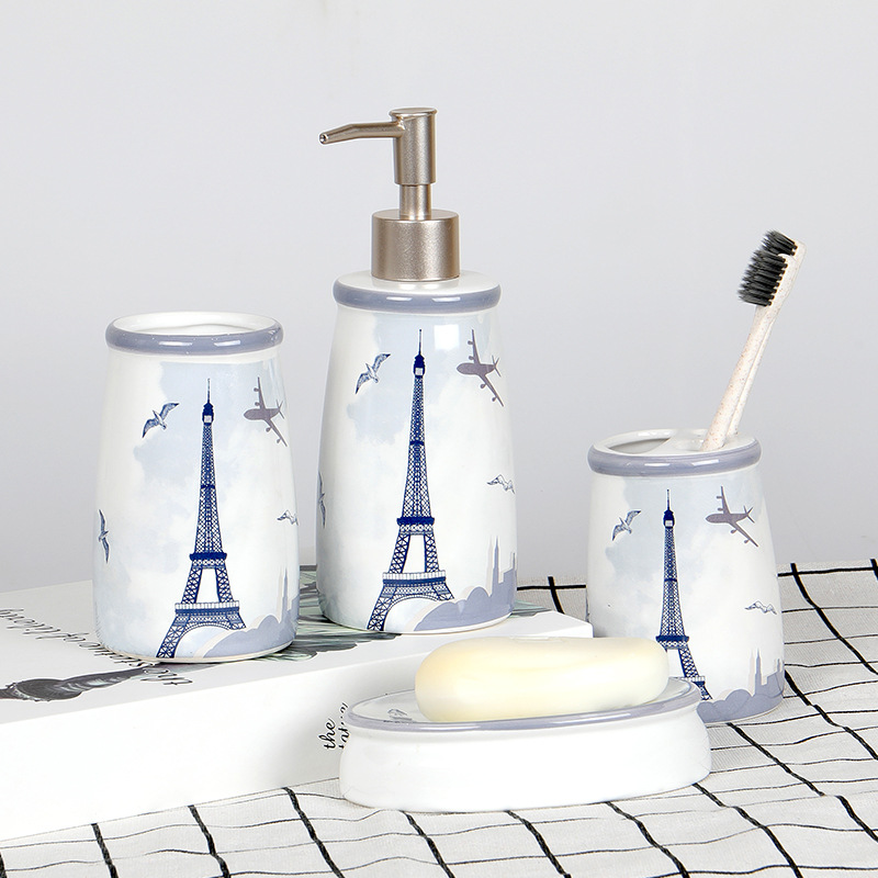 Houmaid Bathroom Accessories Sets WC Ceramics Toothbrush Holder Soap Dispenser Soap Rack Europe Shower Room Gargle Cup 4PCS