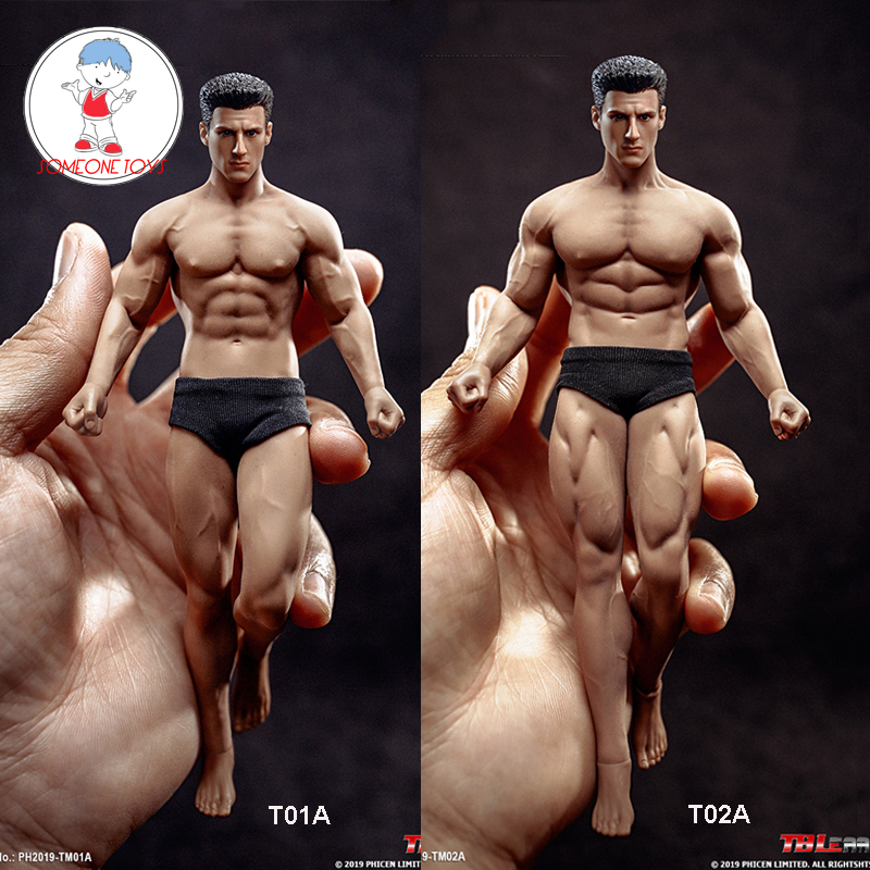 In Stock TBLeague 1/12 Super Flexible Male Seamless Body Action Figure With Head Sculpt TM01A /TM02A Fitness Suntan Skin