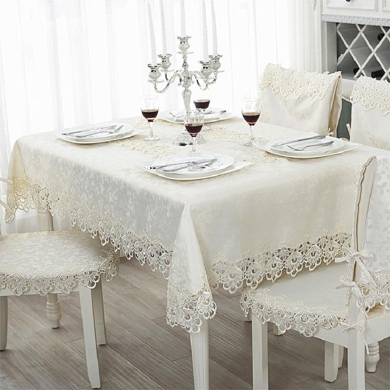 blanco moderno manteles impresos mantel rectangular mantel de encaje borde casa de banquetes