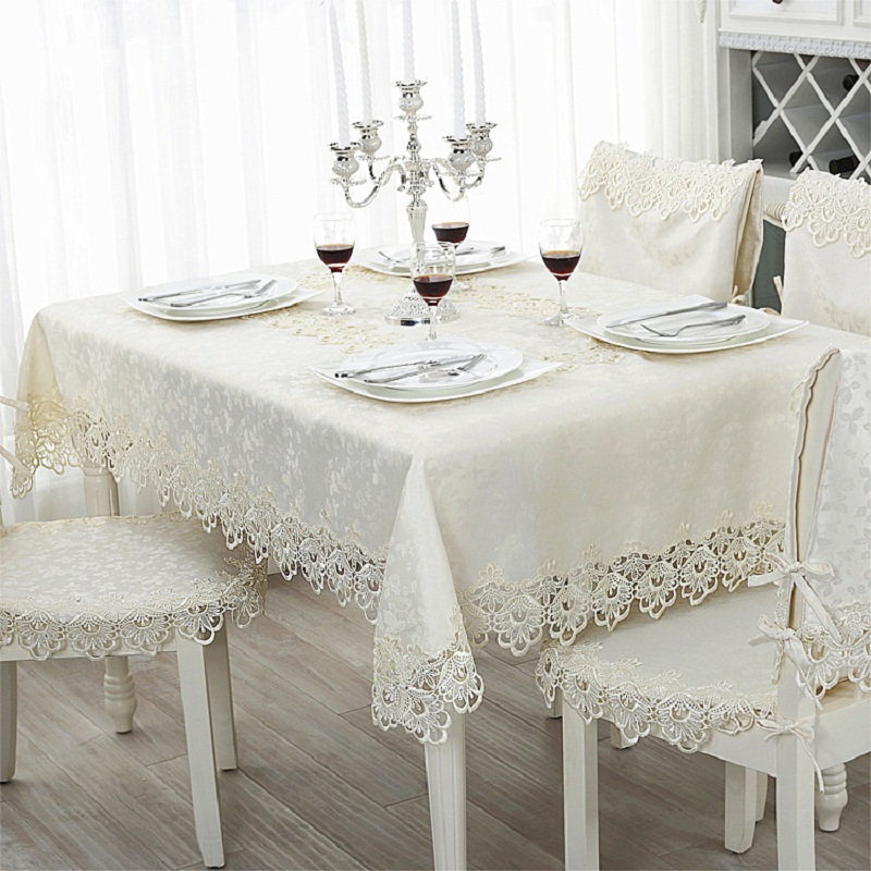 White Modern Tablecloths Printed Rectangular Table Cover