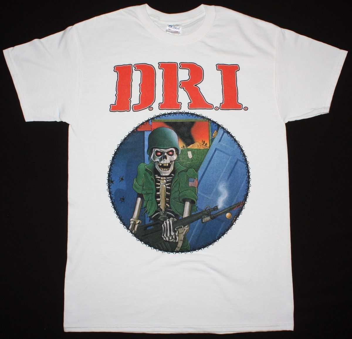 D.R.I. DIRTY ROTTEN LP WHITE T SHIRT IMBECILES CORROSION OF CONFORMITY S.O.D ...