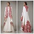Bordados Árabe Kaftan Marroquino 2017 Turco Mulheres Evening Formal Vestidos Manga Comprida Dubai Abaya Muçulmano Vestido Prom Abendkleider