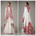 Embroidery Arabic Moroccan Kaftan 2017 Turkish Women Formal Evening Gowns Long Sleeve Dubai Abaya Muslim Prom Dress Abendkleider