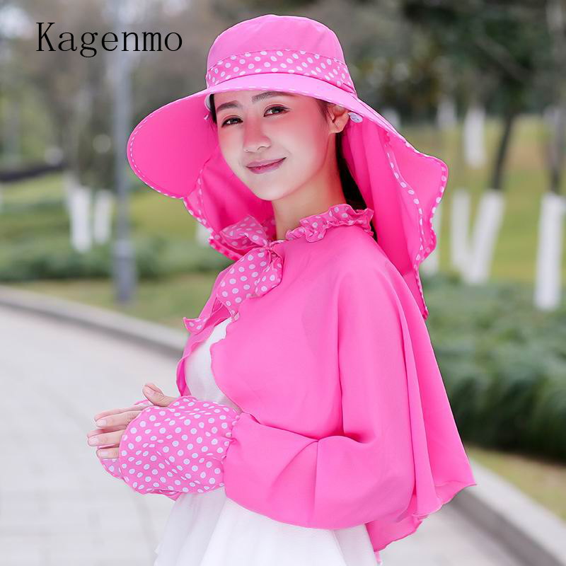 Kagenmo Sunscreen Shawl Sunbonnet Female Summer Set All-Match Beach Cap Outdoor Fold Sun Hat Tenký Prodyšný Plná ochrana