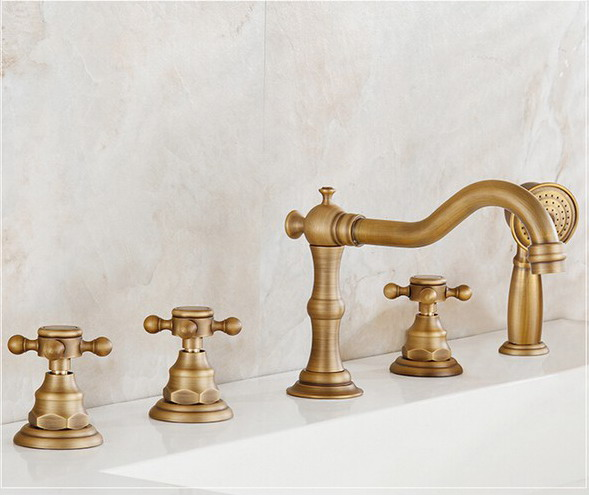 Antique Brass Widespread Bathroom Sink Basin Bathtub Faucet Mixer Tap Set With Hand Shower atf035 - 5