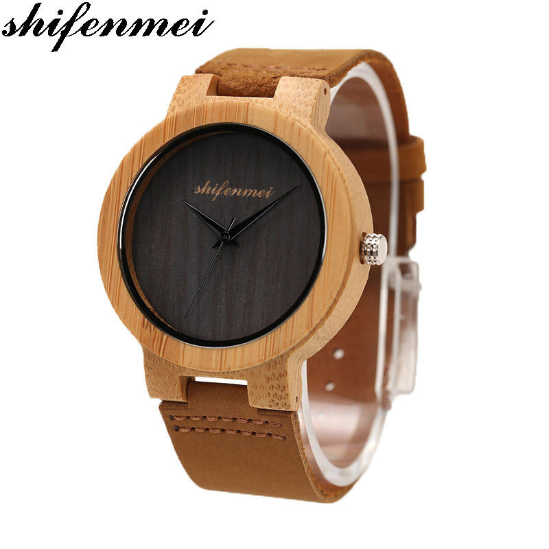 Men's Watch Shifenmei Luxury Wood Watches Bamboo Lover's Watches New No number Creative Clocks reloj madera relogio masculino