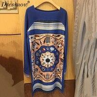 Высокое качество трикотажное платье Женщины осенне платье с длинными рукавами Повседневная печатных свитер платье для женщин