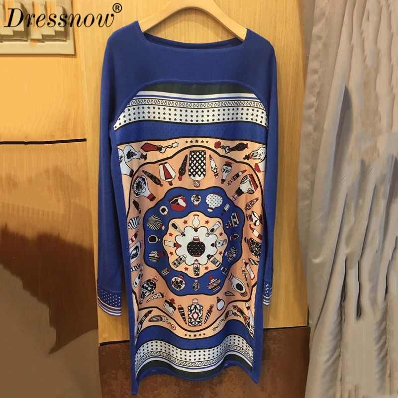 High Quality knitted dress women autumn long sleeve dress casual printed sweater dress for women