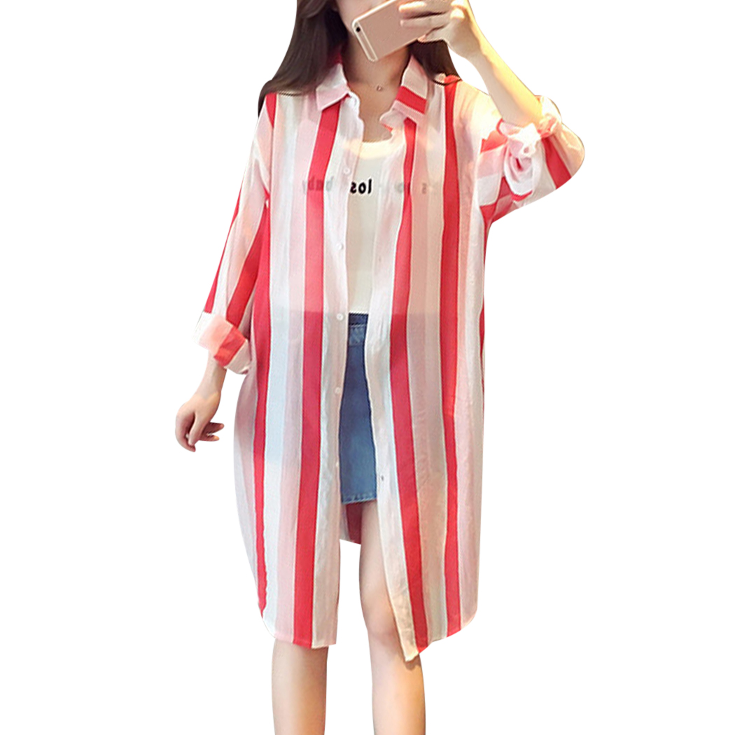 Women's Clothing Womens Chiffon Long Sleeves Semi Sheer Bikini Cover Up Four Colors Patchwork Vertical Stripes Oversized Kimono Cardigan Side Spl