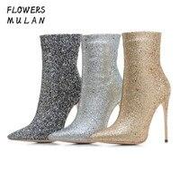Новое поступление зимние Show ботильоны женская обувь с острым носком слипоны блестками Bling стрейч ткань носок сапоги молния сбоку Rome Botas