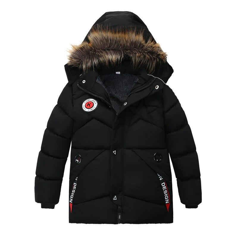 Image 4 - Winter Warm Thickening Fur Collar Long Child Coat Children Outerwear Windproof Fleece Liner Baby Boys Jackets For 100 120cmDown & Parkas   -