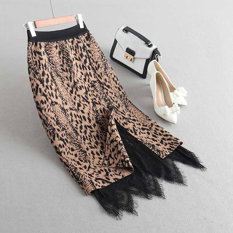 2019 Women Autumn Knitting Bodycon Skirt High Waist Good Quality Vintage Leopard Women Lace Hem Skirt Faldas Jupe Femme Saia