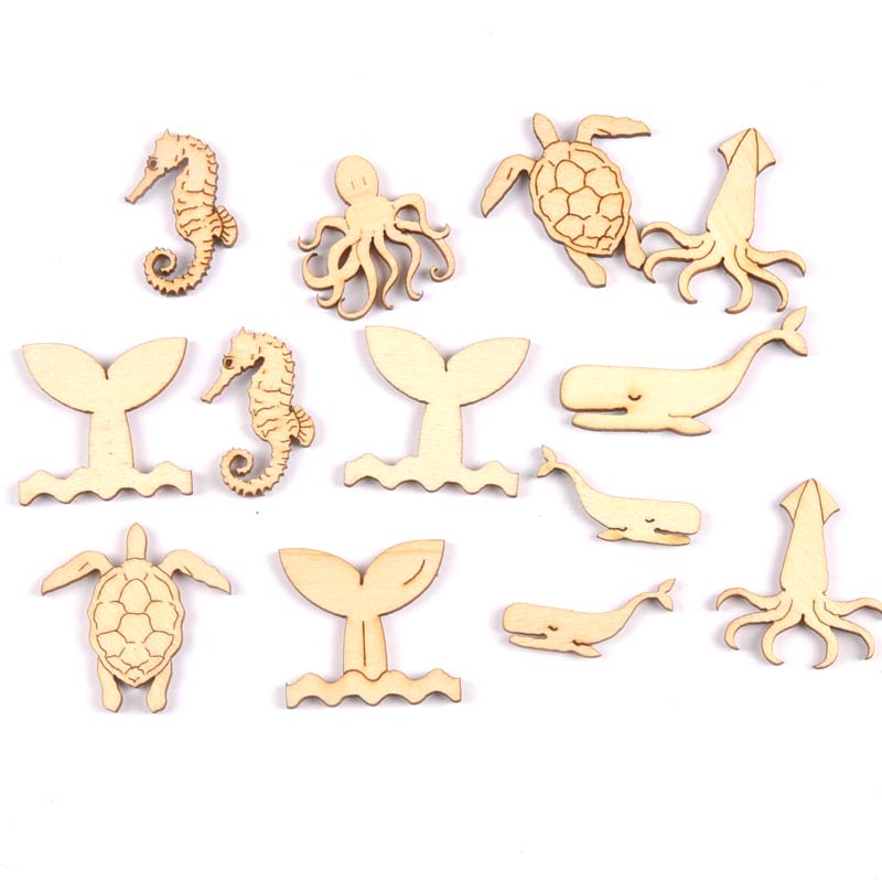 20Pcs Wood Handicraft Sea Turtle/horse/whale DIY Wooden Crafts Scrapbookings Embellishment Decorations 25-40mm MT1938