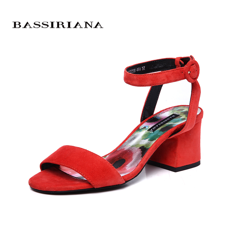BASSIRIANA new 2018 genuine leather suede summer sandals wowen square high heels under dress black green red russian size 36-41