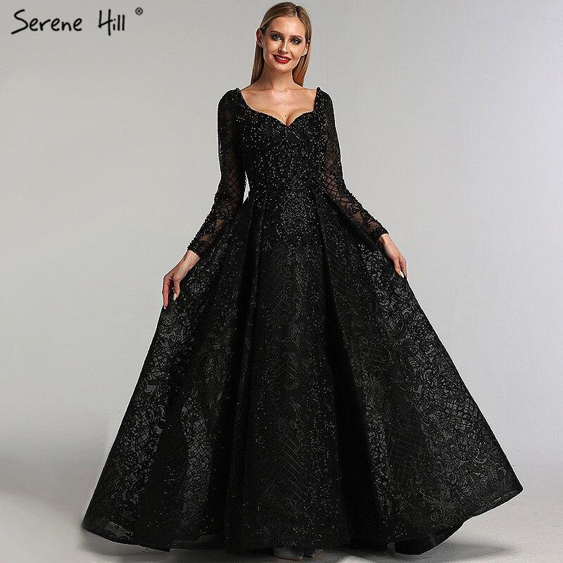 Grau Schwarz Mit Langen Ärmeln V-ausschnitt Abendkleider 2019 Real Photo Luxus Sexy Diamant Dubai Abendkleider LA60899