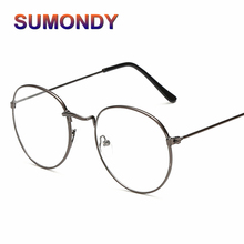b996c8081d SUMONDY Elegant Metal Glasses Frame Women Men Retro Designer Round No  Diopter