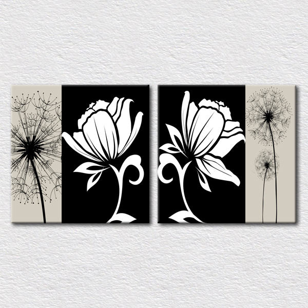 Fancy black and white flower wall art pictures