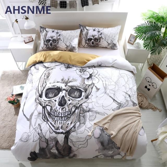 Ahsnme Ink Painting Skull Duvet Cover Sets White Floral Bedding Set
