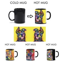 Cute Pitbull Dog Mugs Color Change Ceramic Coffee Mug Fashion Gift Custom Heat Reveal Magic Funny Pet Travel Mug Gift For Friend