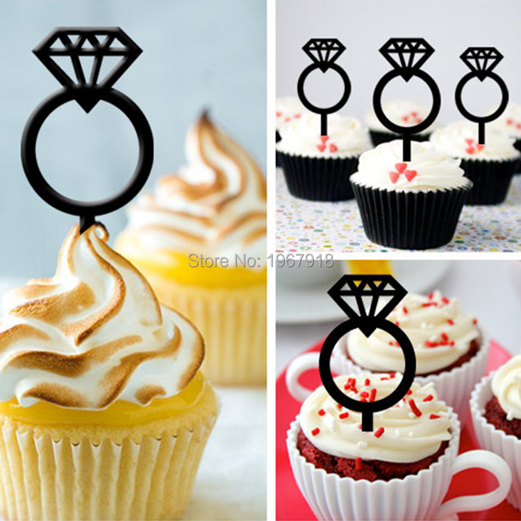 ②Free Shipping 8pcs/set Black/ Gold/ Silver Small Acrylic Cup Cake ...