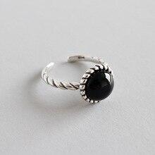 925 anillos de plata esterlina para las mujeres accesorios mejores amigos regalos acessorios, trending negro piedra anello joyeria