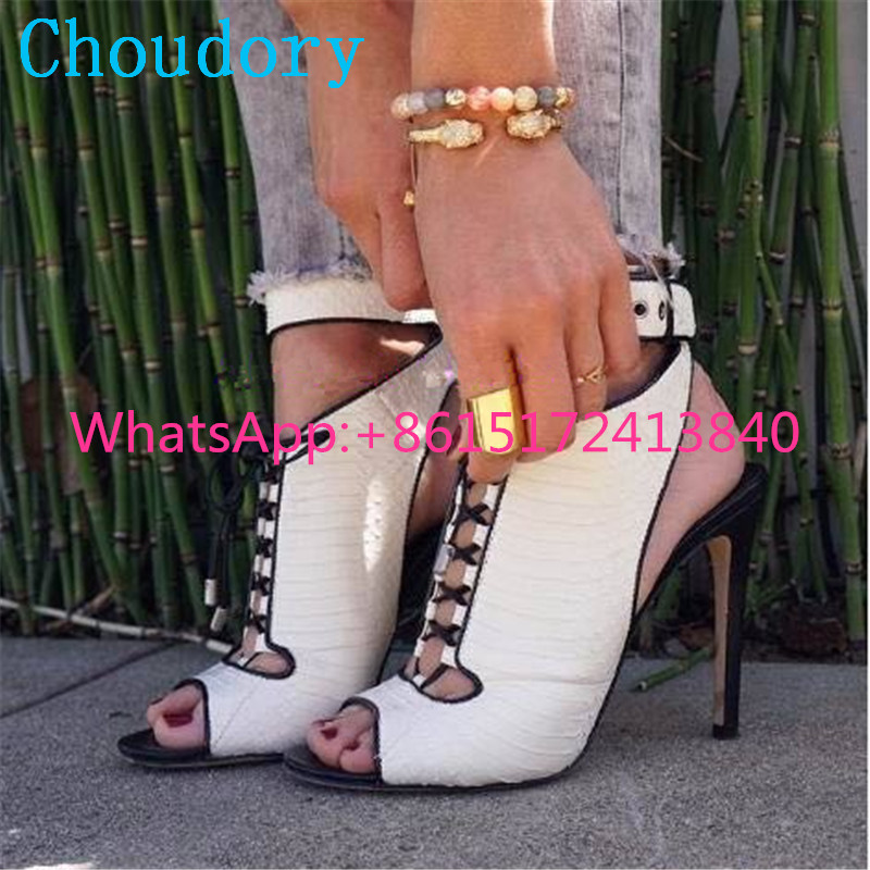 Choudory Super High Heels Buckle Strap Cross-tied Solid Thin Heel Women Shoes Peep Toe New Fashion Sexy Gladiator Party Pumps