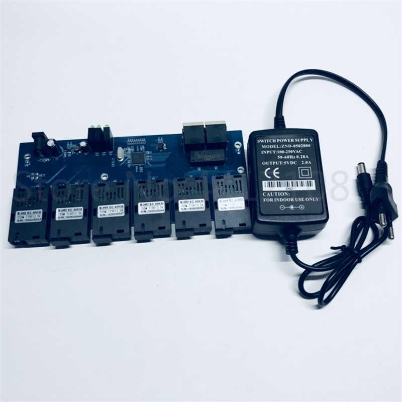 10/100 m switch Fast Ethernet Converter 25 km Ethernet In Fibra Ottica Media Converter Singola Modalità 2 * RJ45 e 6 * Porta in fibra SC PCBA