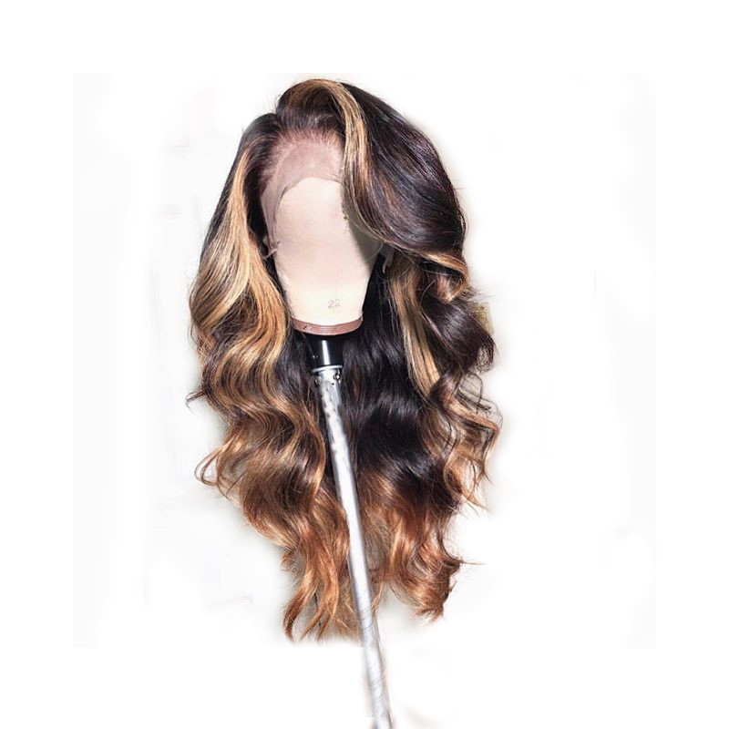 360 Lace Frontal Closure Wig Loose Wave Ombre Honey Blonde Colored 13X6 Deep Lace Front Human