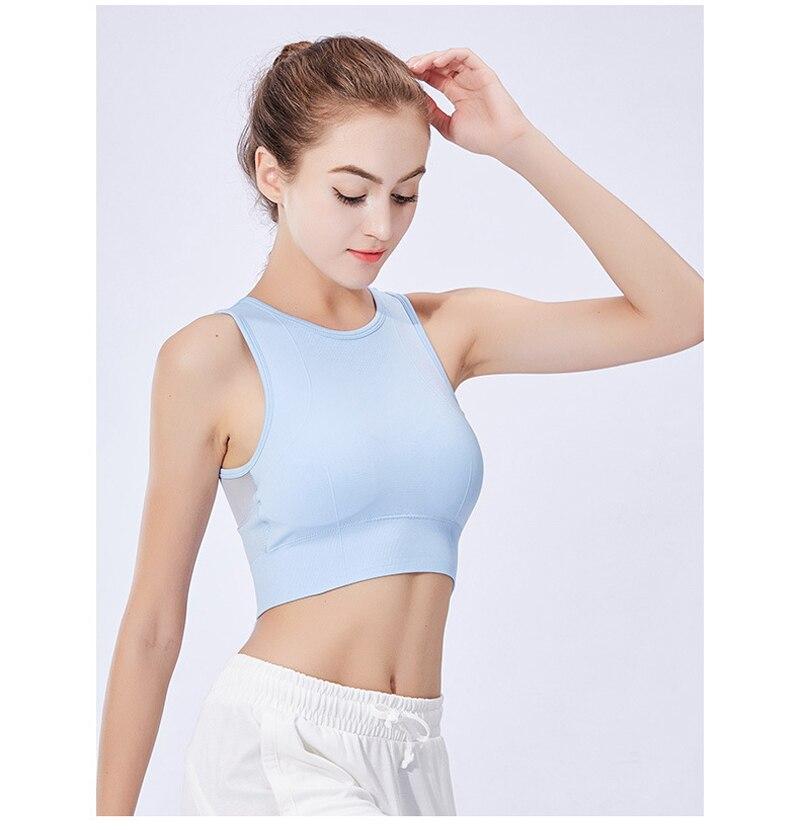 6b2096138 Sports Top Fitness Women Push Up Sports Bra Shockproof Seamless Yoga Bra  Mesh Solid Sport Underwear Jogging Workout Running Vest
