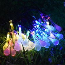 20 LED Water Drop Solar Powered String Lights LED Fairy Light for Wedding Christmas Party Festival Outdoor Indoor Decoration(China)