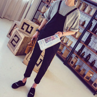 Mens One Piece Jumpsuit Men Black Skinny Overalls Hip Hop Casual Suspender Pants