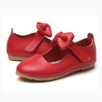ורוד לבן חדש ילדי תינוק ילדים בנות Bowknot נעלי נסיכת עור אמיתיות בית הספר בנות נעלי ריקוד מסיבת חתונת שמלה
