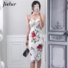 Jielur 2019 Summer Women Dress Rose Print Sexy Slim Fashion Casual Elegant Bodycon White Korean Vintage Vestidos De Fiesta