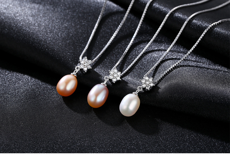 S925 sterling silver pendant necklace with zircon flower natural freshwater pearl pendant LBM12S925 sterling silver pendant necklace with zircon flower natural freshwater pearl pendant LBM12