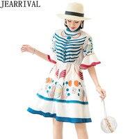 Runway Style Butterfly Sleeve Summer Dress 2018 New Fashion Womens O Neck Vintage Printed Casual Ruffles Dress Vestido De Festa