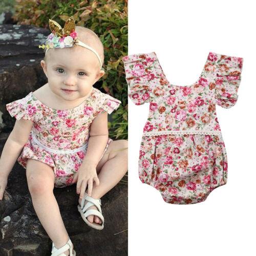 Newborn Infant Baby Girl Lace Casual Cotton Flower Summer Bodysuit  Jumpsuit Sunsuit  Summer Clothes