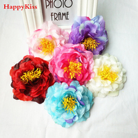 HappyKiss flower 12pcs DIY artificial peony flower heads Multicolor Road lead wedding flower Bouquet hotel background wall