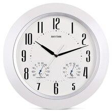 RHYTHM 15inch Simple Temperature Humidity Display Wall Clock Silent Stopwatch Movement Plastic Frame HD Anti fog