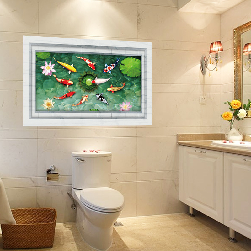 Beautiful Bathroom Wall Decor Stickers Removable Swiming Fish Wallpaper  Bathroom Kitchen Self Adhesive Wall Decals