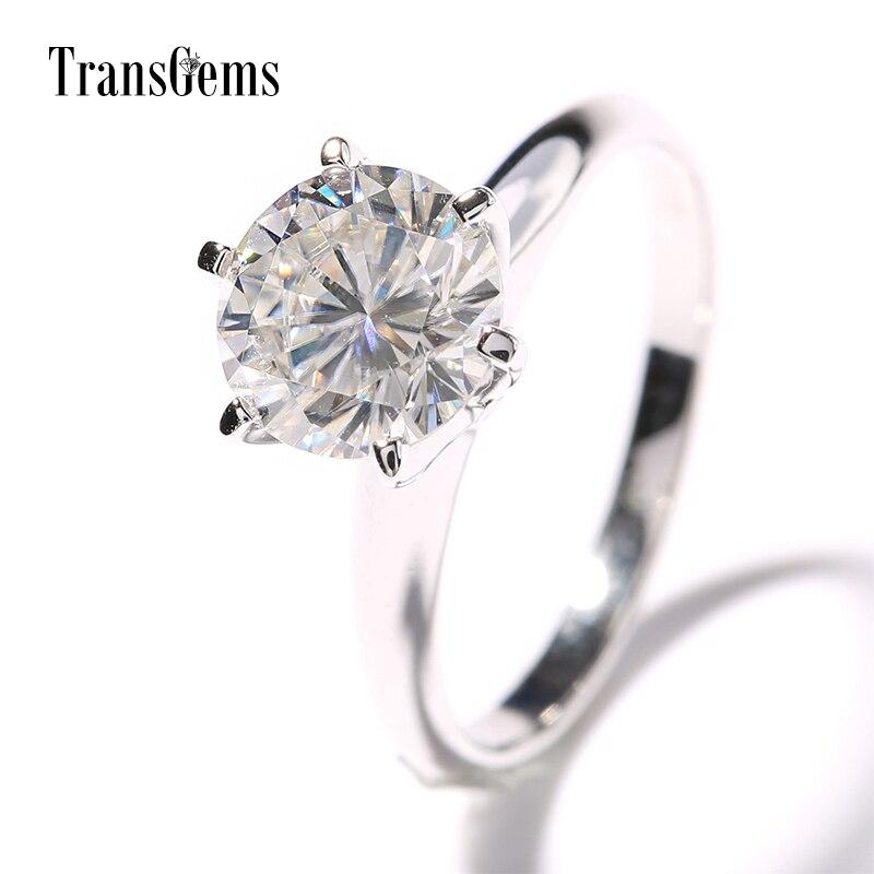 Transgems 14k White Gold 2 carat Diameter 8mm F Color moissanite Engagement Ring For Women Solitare